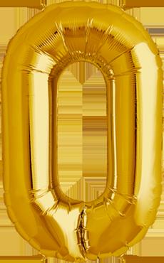 0 Gold Foil Number 16in/40cm