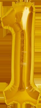1 Gold Foil Number 16in/40cm