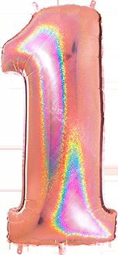 1 Megaloon Rose Gold Glitter Holographic Foil Number 40in/100cm