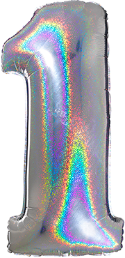 1 Megaloon Silver Glitter Holographic Foil Number 40in/100cm