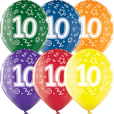 10th Birthday Crystal Green, Crystal Yellow, Crystal Orange, Crystal Royal Red, Crystal Quartz Purple and Crystal Blue Assortment (Transparent) Latex Round 12in/30cm