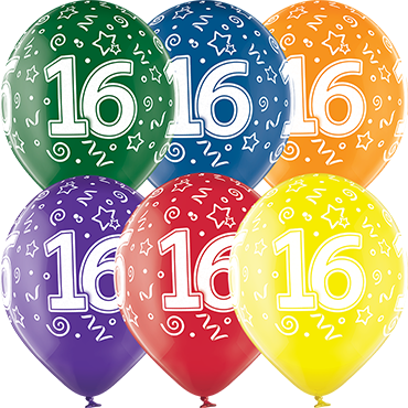 16th Birthday Crystal Green, Crystal Yellow, Crystal Orange, Crystal Royal Red, Crystal Quartz Purple and Crystal Blue Assortment (Transparent) Latex Round 12in/30cm