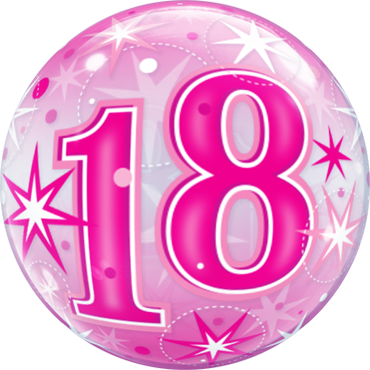 18 Pink Starburst Sparkle Single Bubble 22in/55cm