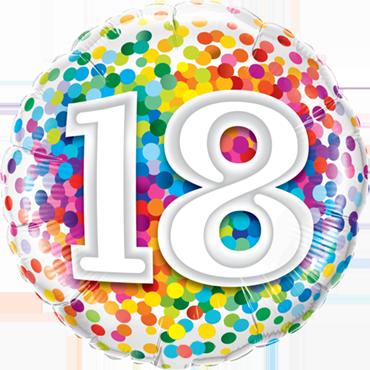 18 Rainbow Confetti Foil Round 18in/45cm