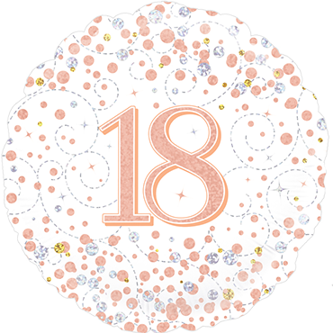 18th Sparkling Fizz Birthday White and Rose Gold Holographic Foil Round 18in/45cm