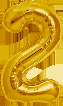 2 Gold Foil Number 16in/40cm