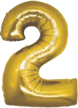 2 Gold Foil Number 8in/20cm