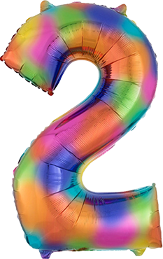 2 Rainbow Splash Foil Number 35in/88cm