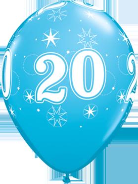 20 Sparkle Fashion Robins Egg Blue Latex Round 11in/27.5cm