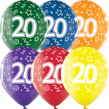 20th Birthday Crystal Green, Crystal Yellow, Crystal Orange, Crystal Royal Red, Crystal Quartz Purple and Crystal Blue Assortment (Transparent) Latex Round 12in/30cm