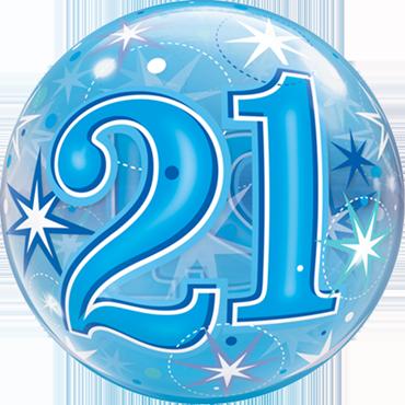 21 Blue Starburst Sparkle Single Bubble 22in/55cm