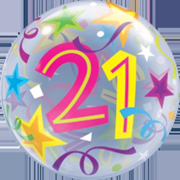 21 Brilliant Stars Single Bubble 22in/55cm