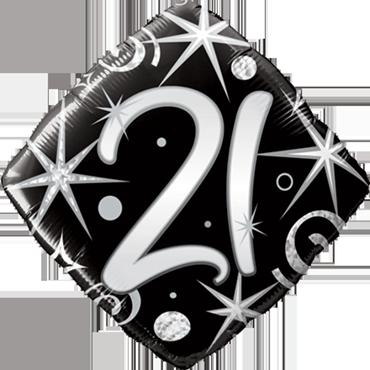 21 Elegant Sparkles and Swirls Foil Diamond 18in/45cm