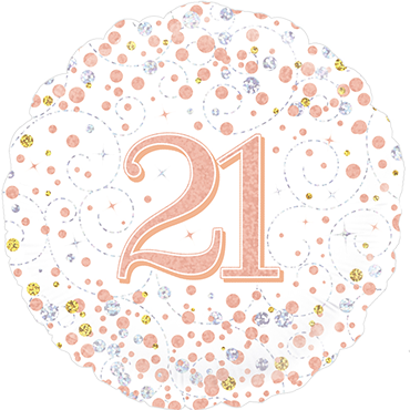 21st Sparkling Fizz Birthday White and Rose Gold Holographic Foil Round 18in/45cm