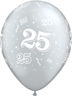 25 Metallic Silver Latex Round 5in/12.5cm