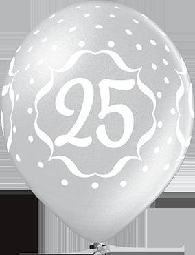 25th Anniversary Metallic Silver Latex Round 12in/30cm