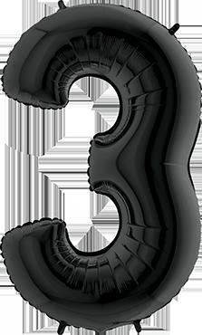 3 Black Foil Number 26in/66cm