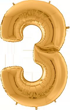 3 Gigaloon Gold Foil Number 64in/162cm