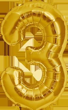 3 Gold Foil Number 7in/18cm