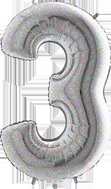 3 Holographic Foil Number 26in/66cm