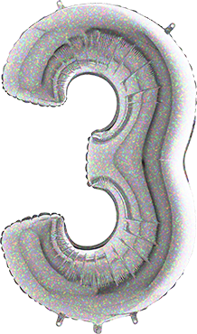 3 Holographic Foil Number 40in/100cm
