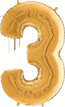 3 Megaloon Gold Foil Number 40in/100cm