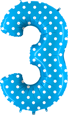 3 Pois Turquoise Foil Number 40in/100cm