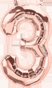 3 Rose Gold Foil Number 16in/40cm