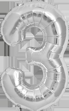 3 Silver Foil Number 16in/40cm