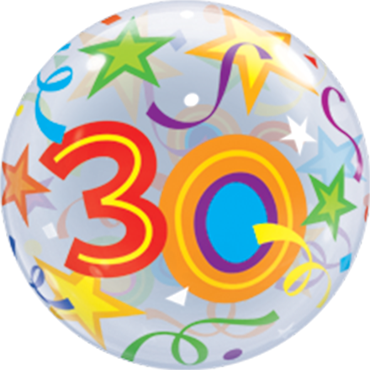 30 Brilliant Stars Single Bubble 22in/55cm