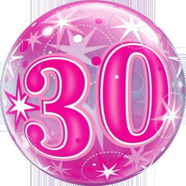 30 Pink Starburst Sparkle Single Bubble 22in/55cm