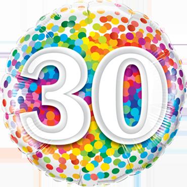 30 Rainbow Confetti Foil Round 18in/45cm