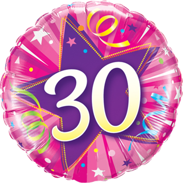 30 Shining Star Hot Pink Foil Round 18in/45cm