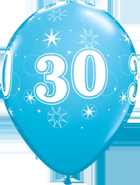 30 Sparkle Fashion Robins Egg Blue Latex Round 11in/27.5cm