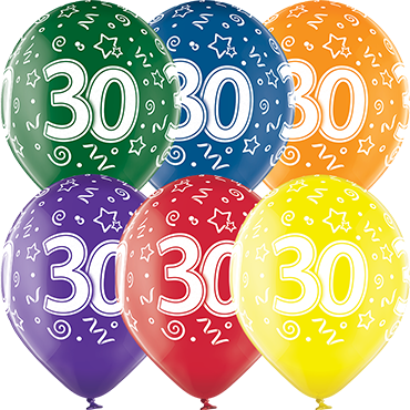 30th Birthday Crystal Green, Crystal Yellow, Crystal Orange, Crystal Royal Red, Crystal Quartz Purple and Crystal Blue Assortment (Transparent) Latex Round 12in/30cm