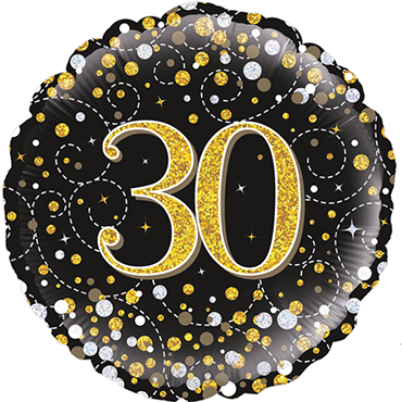 30th Sparkling Fizz Birthday Black and Gold Holographic Foil Round 18in/45cm