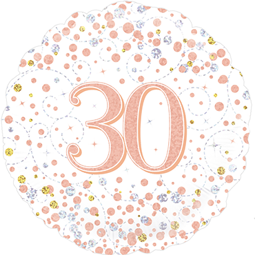 30th Sparkling Fizz Birthday White and Rose Gold Holographic Foil Round 18in/45cm