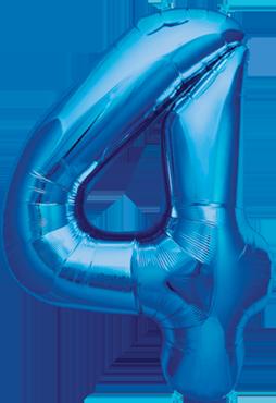 4 Blue Foil Number 16in/40cm