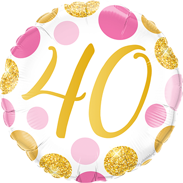 40 Pink and Gold Dots Foil Round 18in/45cm