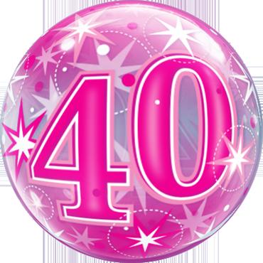 40 Pink Starburst Sparkle Single Bubble 22in/55cm