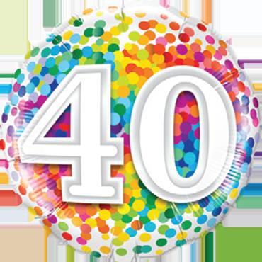 40 Rainbow Confetti Foil Round 18in/45cm