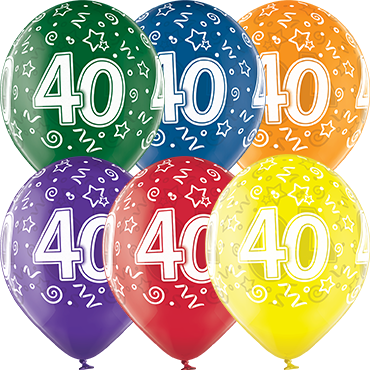 40th Birthday Crystal Green, Crystal Yellow, Crystal Orange, Crystal Royal Red, Crystal Quartz Purple and Crystal Blue Assortment (Transparent) Latex Round 12in/30cm