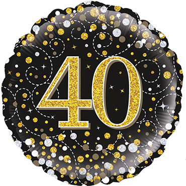 40th Sparkling Fizz Birthday Black and Gold Holographic Foil Round 18in/45cm