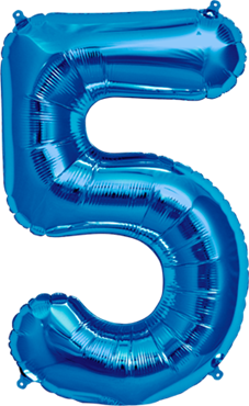 5 Blue Foil Number 34in/86cm