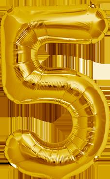 5 Gold Foil Number 34in/86cm