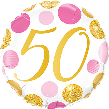 50 Pink and Gold Dots Foil Round 18in/45cm