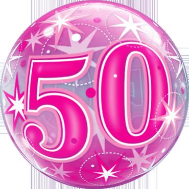50 Pink Starburst Sparkle Single Bubble 22in/55cm