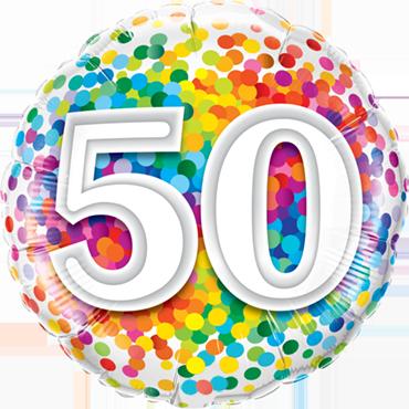 50 Rainbow Confetti Foil Round 18in/45cm