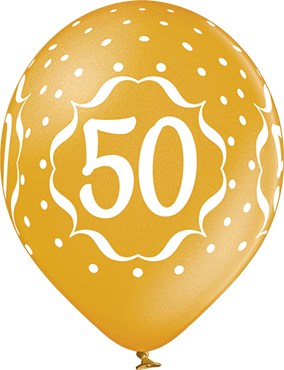 50th Anniversary Metallic Gold Latex Round 12in/30cm