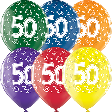 50th Birthday Crystal Green, Crystal Yellow, Crystal Orange, Crystal Royal Red, Crystal Quartz Purple and Crystal Blue Assortment (Transparent) Latex Round 12in/30cm